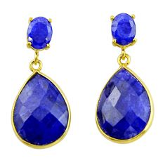 23.23cts natural blue sapphire 925 silver 14k gold dangle earrings r32816