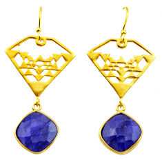 14.72cts natural blue sapphire 925 silver 14k gold dangle earrings r32853