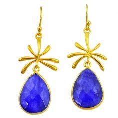 16.04cts natural blue sapphire 14k gold handmade dangle earrings t11473