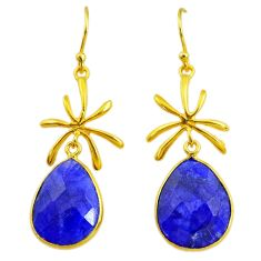 17.35cts natural blue sapphire 14k gold handmade dangle earrings t11474