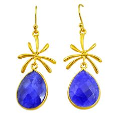 17.75cts natural blue sapphire 14k gold handmade dangle earrings t11475