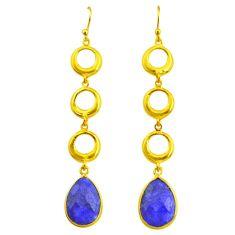 11.23cts natural blue sapphire 14k gold handmade dangle earrings t11499
