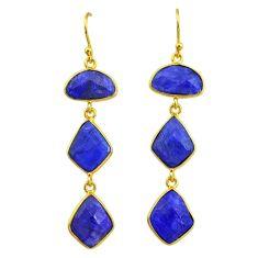 18.39cts natural blue sapphire 14k gold handmade dangle earrings t11550