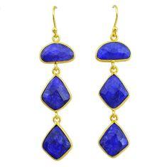 18.57cts natural blue sapphire 14k gold handmade dangle earrings t11551