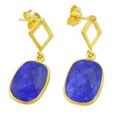 10.67cts natural blue sapphire 14k gold handmade dangle earrings t11598