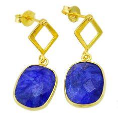 10.22cts natural blue sapphire 14k gold handmade dangle earrings t11599