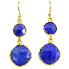 14.30cts natural blue sapphire 14k gold handmade dangle earrings t11608