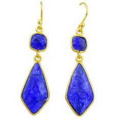 14.27cts natural blue sapphire 14k gold handmade dangle earrings t11658