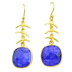 12.15cts natural blue sapphire 14k gold handmade dangle earrings t11666