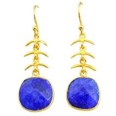 9.72cts natural blue sapphire 14k gold handmade dangle earrings t11667