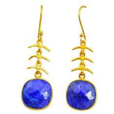 12.96cts natural blue sapphire handmade14k gold dangle earrings t16453