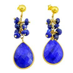 19.98cts natural blue sapphire handmade14k gold dangle earrings t16592