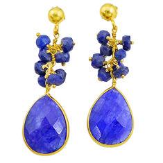 20.39cts natural blue sapphire handmade14k gold dangle earrings t16593
