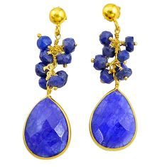 21.05cts natural blue sapphire handmade14k gold dangle earrings t16594