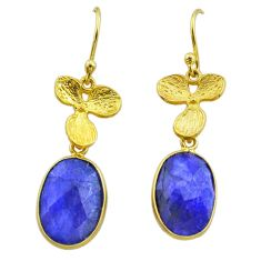 10.02cts natural blue sapphire 925 silver 14k gold dangle earrings t44063