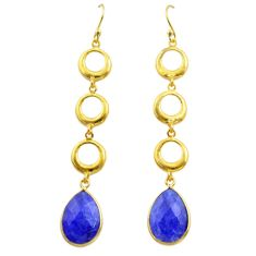 11.25cts natural blue sapphire 925 silver 14k gold dangle earrings t44138