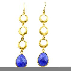 11.21cts natural blue sapphire 925 silver 14k gold dangle earrings t44139