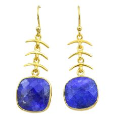 10.22cts natural blue sapphire 925 silver 14k gold dangle earrings t44172