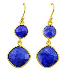 13.50cts natural blue sapphire 925 silver 14k gold dangle earrings t44187