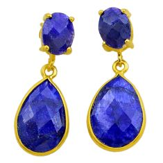 13.10cts natural blue sapphire 925 silver 14k gold dangle earrings t44233