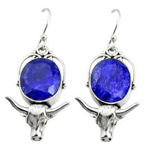 10.84cts natural blue sapphire 925 silver dangle bull charm earrings r24910