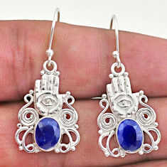 4.19cts natural blue sapphire 925 silver hand of god hamsa earrings t46989