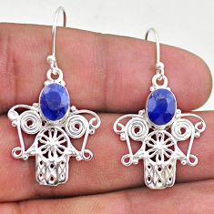 4.22cts natural blue sapphire 925 silver hand of god hamsa earrings t46999