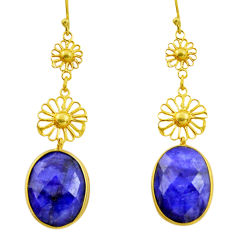 18.73cts natural blue sapphire 925 sterling silver 14k gold earrings r33325