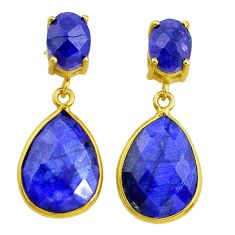 14.12cts natural blue sapphire handmade 14k gold dangle earrings t16375