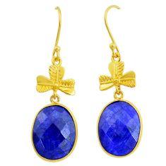 18.17cts natural blue sapphire handmade 14k gold dangle earrings t16391
