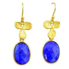 11.73cts natural blue sapphire handmade 14k gold dangle earrings t16392
