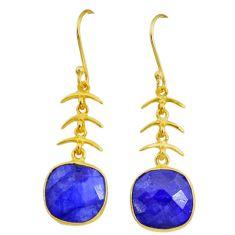 12.57cts natural blue sapphire handmade 14k gold dangle earrings t16432