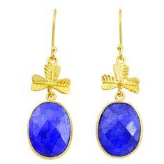 18.68cts natural blue sapphire handmade 14k gold dangle earrings t16433
