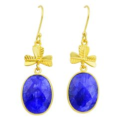 16.30cts natural blue sapphire handmade 14k gold dangle earrings t16436