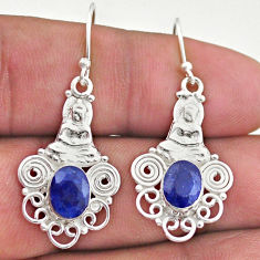 4.38cts natural blue sapphire 925 sterling silver buddha charm earrings t46996