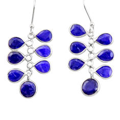 14.08cts natural blue sapphire 925 sterling silver chandelier earrings d39867