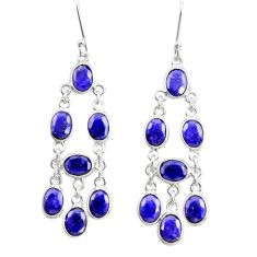 18.73cts natural blue sapphire 925 sterling silver chandelier earrings d39870