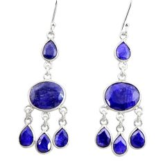 18.73cts natural blue sapphire 925 sterling silver chandelier earrings d39872