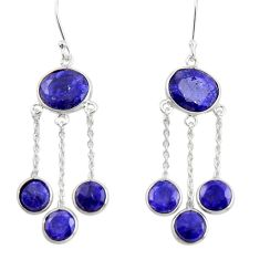 18.73cts natural blue sapphire 925 sterling silver chandelier earrings d39879