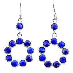 8.70cts natural blue sapphire 925 sterling silver chandelier earrings t38867