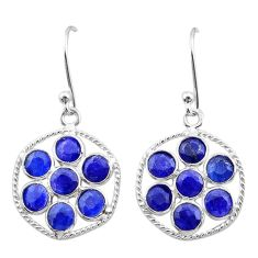 7.10cts natural blue sapphire 925 sterling silver chandelier earrings t38909