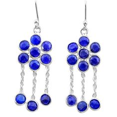 8.10cts natural blue sapphire 925 sterling silver chandelier earrings t38914