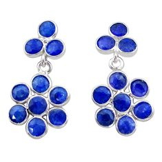 7.65cts natural blue sapphire 925 sterling silver chandelier earrings t38935