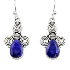 4.08cts natural blue sapphire 925 sterling silver dangle earrings jewelry r19861