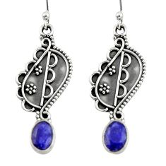 3.43cts natural blue sapphire 925 sterling silver dangle earrings jewelry r19862