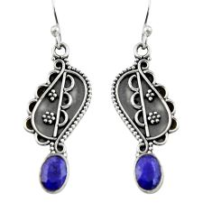 3.50cts natural blue sapphire 925 sterling silver dangle earrings jewelry r19863