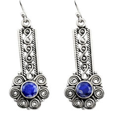 2.46cts natural blue sapphire 925 sterling silver dangle earrings jewelry r21715