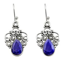 4.93cts natural blue sapphire 925 sterling silver dangle earrings jewelry r21726