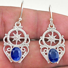 4.25cts natural blue sapphire 925 sterling silver dangle earrings jewelry t46986