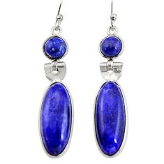 14.73cts natural blue sapphire 925 sterling silver dangle earrings r19923
